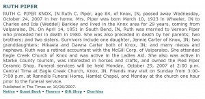 Obituary for Ruth Charlotte (Barkley) Piper