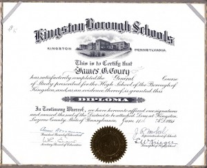Diploma for James G. Coury with $5.00 price tag