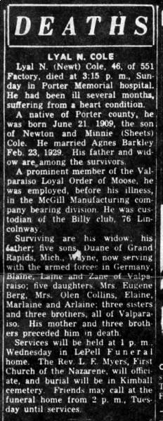 Obituary for Lyal Newton Cole