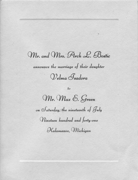Wedding Invitation for Max Green and Velma Bostic
