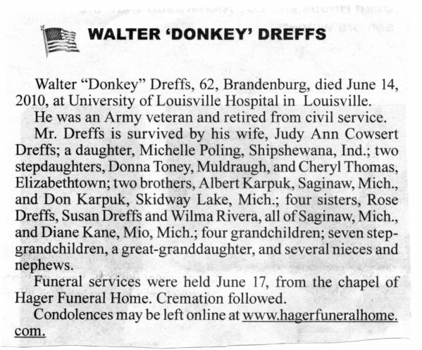 Obituary for Walter Dreffs