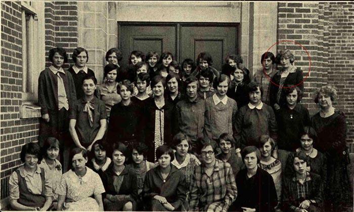 Agnes Barkley in the Valparaiso High School 1928 Glee Club