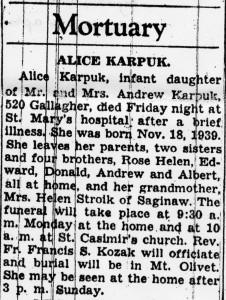Obituary for Alice Karpuk
