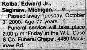 Obituary for Edward Kolba, Junior