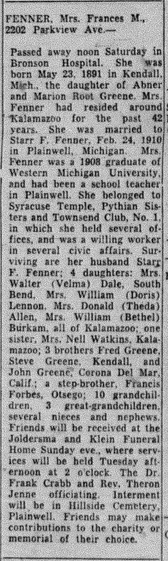 Obituary for Frances May Fenner