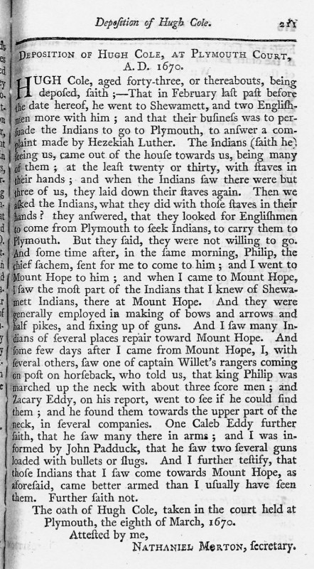 Deposition of Hugh Cole at Plymouth Court - March 8, 1670