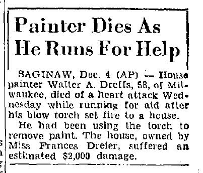 Painter Dies As He Runs For Help